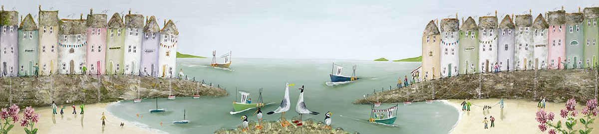 Collecting Shells by Rebecca Lardner - Limited Edition Box Canvas sized 40x10 inches. Available from Whitewall Galleries